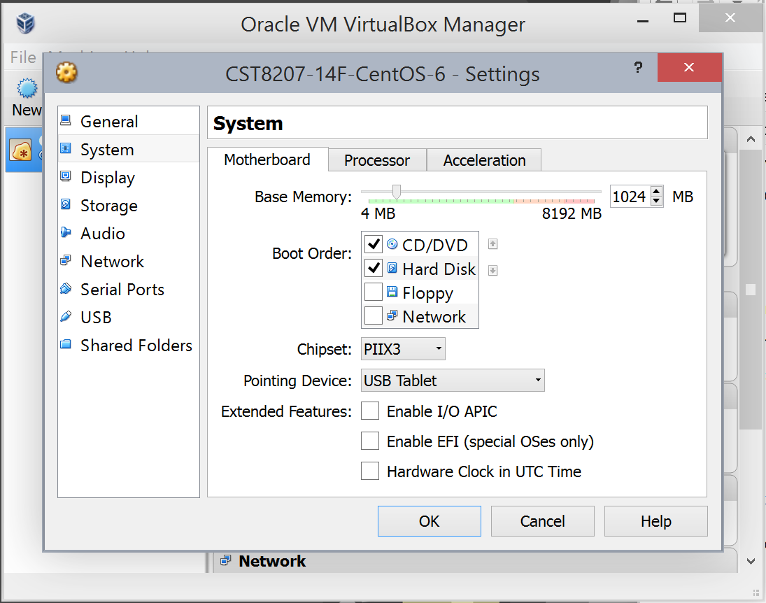 Installation of CentOS in VirtualBox