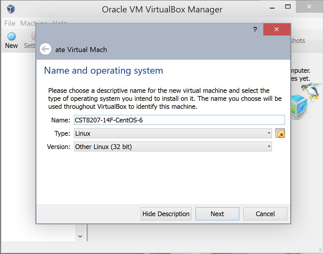 Installation of CentOS in VirtualBox