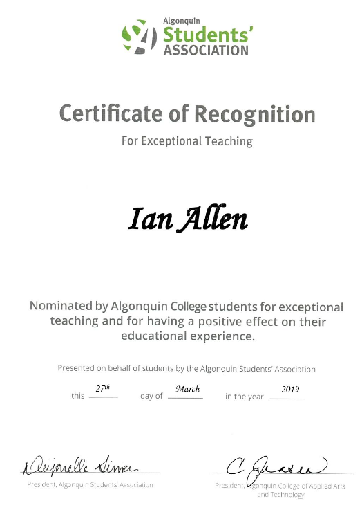 Certificate of Recognition for Ian Allen